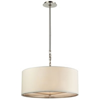 Picture for category Pendants 3 Light With Polished Nickel Finish White Fabric Medium Base 22 inch 180 Watts - World of Lamp