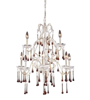 Picture for category Chandeliers 9 Light With Antique White Finish Amber Crystal Candelabra 25 inch 540 Watts - World of Lamp