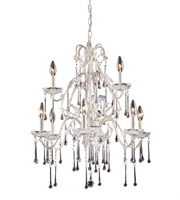 Picture for category Chandeliers 9 Light With Antique White Finish Clear Crystal Candelabra 25 inch 540 Watts - World of Lamp