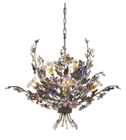 Picture for category Chandeliers 6 Light With Bronzed Rust Finish Multi Colored Crystal Florets G9 32 inch 240 Watts - World of Lamp