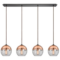 Picture for category Pendants 4 Light With Oil Rubbed Bronze Finish Clear Glass With Copper Plated Top Medium Base 46 inch 240 Watts - World of Lamp