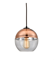 Picture for category Pendants 1 Light With Oil Rubbed Bronze Finish Clear Glass With Copper Plated Top Medium Base 8 inch 60 Watts - World of Lamp