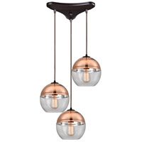 Picture for category Pendants 3 Light With Oil Rubbed Bronze Finish Clear Glass With Copper Plated Top Medium Base 17 inch 180 Watts - World of Lamp