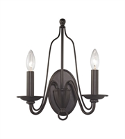 Picture for category Wall Sconces 2 Light With Oil Rubbed Bronze Finish Candelabra 13 inch 120 Watts - World of Lamp