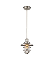 Picture for category Pendants 1 Light With Satin Nickel Finish Clear Glass Medium Base 8 inch 60 Watts - World of Lamp