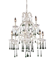 Picture for category Chandeliers 9 Light With Antique White Finish Lime Crystal Candelabra 25 inch 540 Watts - World of Lamp