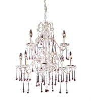 Picture for category Chandeliers 9 Light With Antique White Finish Rose Crystal Candelabra 25 inch 540 Watts - World of Lamp