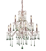 Picture for category Chandeliers 9 Light With Rust Finish Lime Crystal Candelabra 25 inch 540 Watts - World of Lamp