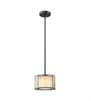 Picture for category Pendants 1 Light With Tiffany Bronze Finish Seedy Glass With Amber Art Glass Inner Drum Medium Base 8 inch 60 Watts - World of Lamp