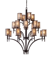 Picture for category Chandeliers 20 Light With Aged Bronze Finish Tan Mica Medium Base 50 inch 1200 Watts - World of Lamp