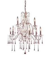 Picture for category Chandeliers 9 Light With Rust Finish Rose Crystal Candelabra 25 inch 540 Watts - World of Lamp