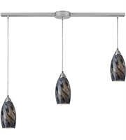 Picture for category Pendants 3 Light With Satin Nickel Finish Smoke Galaxy Glass Medium Base 36 inch 180 Watts - World of Lamp