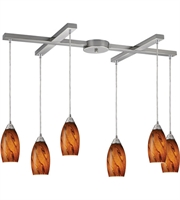 Picture for category Pendants 6 Light With Satin Nickel Finish Brown Glass Medium Base 33 inch 360 Watts - World of Lamp