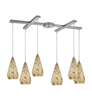 Picture for category Pendants 6 Light With Satin Nickel Finish Silver Multi Crackle Medium Base 33 inch 360 Watts - World of Lamp