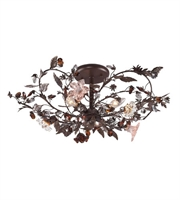 Picture for category Semi Flush 3 Light With Deep Rust Finish Hand Blown Glass Florets Candelabra 27 inch 180 Watts - World of Lamp