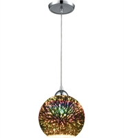 Picture for category Pendants 1 Light With Polished Chrome Finish 3-D Starburst Medium Base 8 inch 100 Watts - World of Lamp