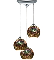 Picture for category Pendants 3 Light With Polished Chrome Finish 3-D Starburst Medium Base 10 inch 300 Watts - World of Lamp