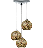 Picture for category Pendants 3 Light With Polished Chrome Finish 3-D Graffiti Medium Base 10 inch 300 Watts - World of Lamp