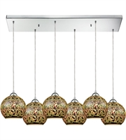 Picture for category Pendants 6 Light With Polished Chrome Metal Glass Medium Base 36 inch 600 Watts - World of Lamp