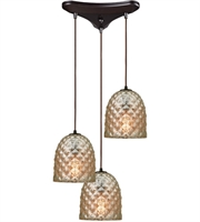 Picture for category Pendants 3 Light With Oil Rubbed Bronze Finish Raised Diamond Texture Mercury Medium Base 10 inch 180 Watts - World of Lamp