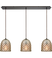 Picture for category Pendants 3 Light With Oil Rubbed Bronze Finish Raised Diamond Texture Mercury Medium Base 36 inch 180 Watts - World of Lamp