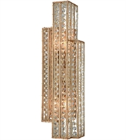 Picture for category Wall Sconces 2 Light With Matte Gold Clear Crystal Candelabra Base 6 inch 120 Watts - World of Lamp