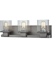 Picture for category Bathroom Vanity 3 Light With Weathered Zinc Finish Clear Medium Base 22 inch 300 Watts - World of Lamp
