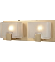 Picture for category Bathroom Vanity 2 Light With Satin Brass Finish Frosted Cast G9 14 inch 120 Watts - World of Lamp