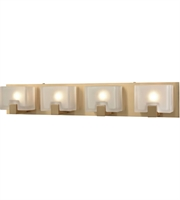Picture for category Bathroom Vanity 4 Light With Satin Brass Frosted Cast Metal Glass 28 inch 240 Watts - World of Lamp