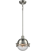 Picture for category Pendants 1 Light With Satin Nickel Clear Metal Glass Medium 10 inch 60 Watts - World of Lamp