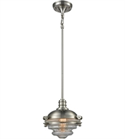 Picture for category Pendants 1 Light With Satin Nickel Finish Clear Medium Base 10 inch 60 Watts - World of Lamp