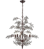 Picture for category Chandeliers 6 Light With Antique Darkwood Finish Clear Candelabra 28 inch 360 Watts - World of Lamp