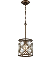 Picture for category Pendants 1 Light With Weathered Bronze Finish Champagne Plated Medium Base 8 inch 100 Watts - World of Lamp