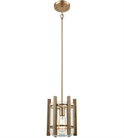 Picture for category Pendants 1 Light With Satin Brass with Wood Slats Finish Curved Medium Base 9 inch 100 Watts - World of Lamp