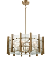 Picture for category Chandeliers 6 Light With Satin Brass with Wood Slats Finish Curved Candelabra 24 inch 360 Watts - World of Lamp