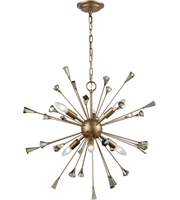 Picture for category Chandeliers 6 Light With Matte Gold Finish Amber Teak Candelabra 25 inch 360 Watts - World of Lamp