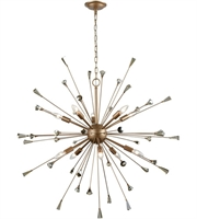 Picture for category Chandeliers 10 Light With Matte Gold Finish Amber Teak Candelabra 38 inch 600 Watts - World of Lamp