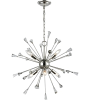 Picture for category Chandeliers 6 Light With Polished Nickel Finish Clear Crystal Candelabra 25 inches 360 Watts - World of Lamp