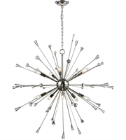 Picture for category Chandeliers 10 Light With Polished Nickel Finish Clear Crystal Candelabra 38 inch 600 Watts - World of Lamp