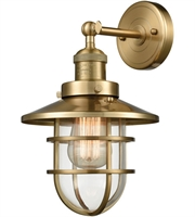 Picture for category Wall Sconces 1 Light With Satin Brass Clear Metal Glass Medium 8 inch 60 Watts - World of Lamp