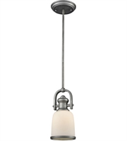 Picture for category Pendants 1 Light With Weathered Zinc Finish White Medium Base 5 inch 100 Watts - World of Lamp