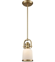 Picture for category Pendants 1 Light With Satin Brass Finish White Medium Base 5 inch 100 Watts - World of Lamp
