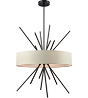 Picture for category Chandeliers 5 Light With Oil Rubbed Bronze Finish Textured Beige Fabric Medium Base 25 inch 300 Watts - World of Lamp