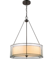 Picture for category Chandeliers 3 Light With Tiffany Bronze Finish Off-White Art and Seedy Medium Base 21 inch 300 Watts - World of Lamp