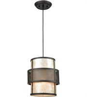Picture for category Pendants 1 Light With Oil Rubbed Bronze Finish Tan Mica With Perforated Metal Band Medium Base 10 inch 60 Watts - World of Lamp