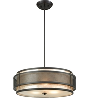 Picture for category Chandeliers 3 Light With Oil Rubbed Bronze Finish Tan Mica With Perforated Metal Band Medium Base 20 inches 180 Watts - World of Lamp