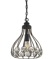 Picture for category Pendants 1 Light With Bronze Gold and Matte Black Finish Clear Crystal Medium Base 11 inch 60 Watts - World of Lamp