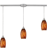 Picture for category Pendants 3 Light With Satin Nickel Finish Brown Glass Medium Base 10 inch 180 Watts - World of Lamp
