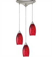 Picture for category Pendants 3 Light With Satin Nickel Finish Red Galaxy Glass Medium Base 10 inch 180 Watts - World of Lamp