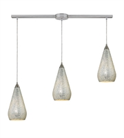 Picture for category Pendants 3 Light With Satin Nickel Finish Silver Crackle Glass Medium Base 36 inch 180 Watts - World of Lamp